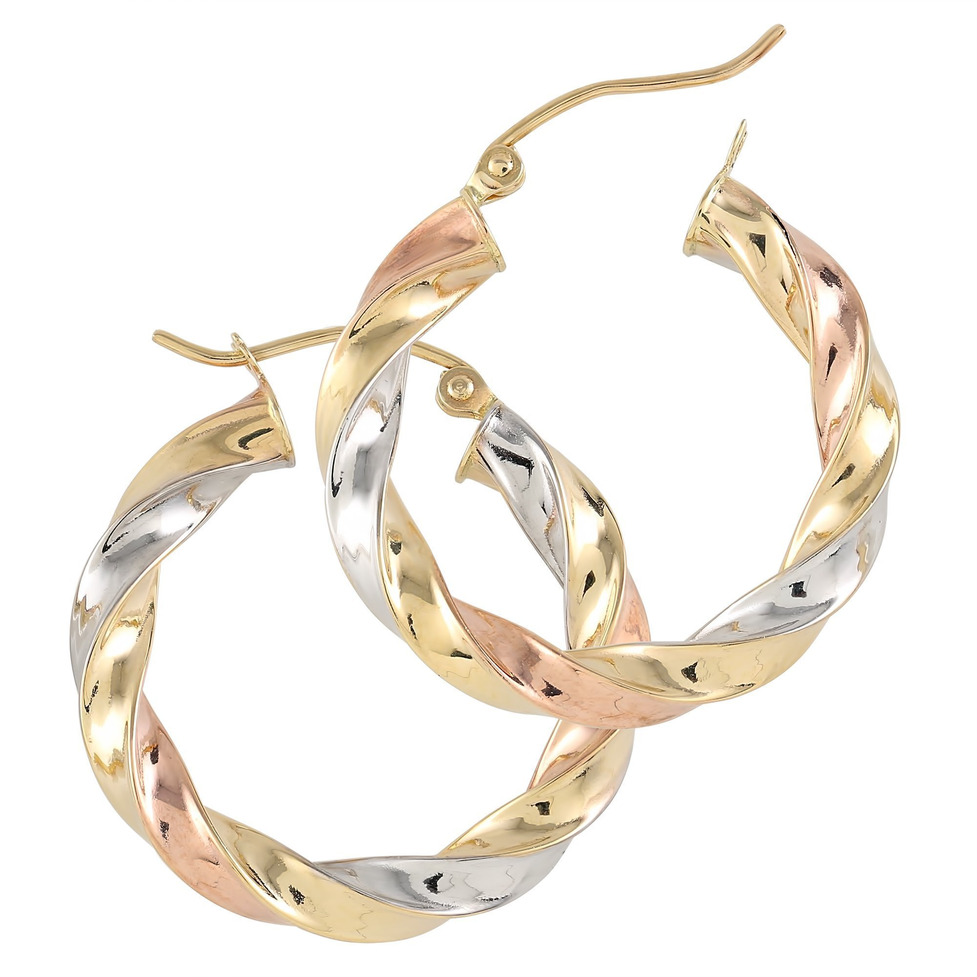 Balluccitoosi Tri Color Round Spiral Hoop Earrings - 14k Gold Earring for Women and Girls - Unique Jewelry for Everyday