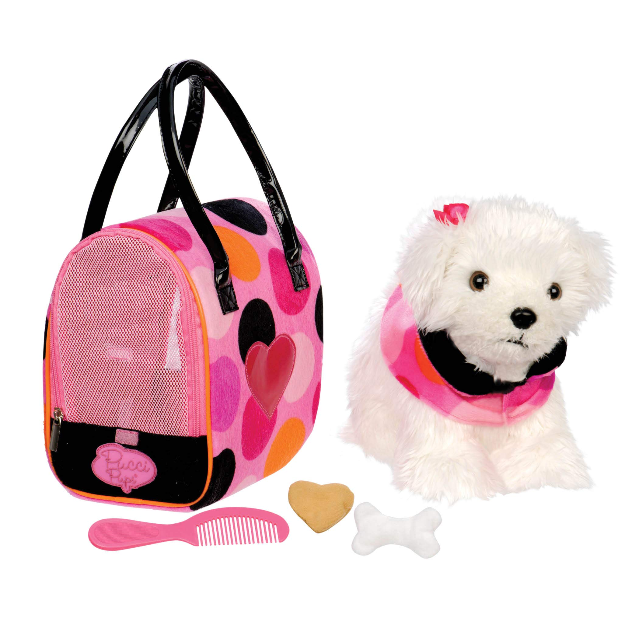 Pucci Pups by Battat - Bichon Frisé Stuffed Puppy with Colorful Polka Dot Stuffed Animal Bag and Pet Accessories by Pucci Pups by Battat
