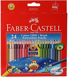 Faber-Castell Grip Watercolor Pencil with Brush - Pack of 24 (Assorted) Kits at amazon