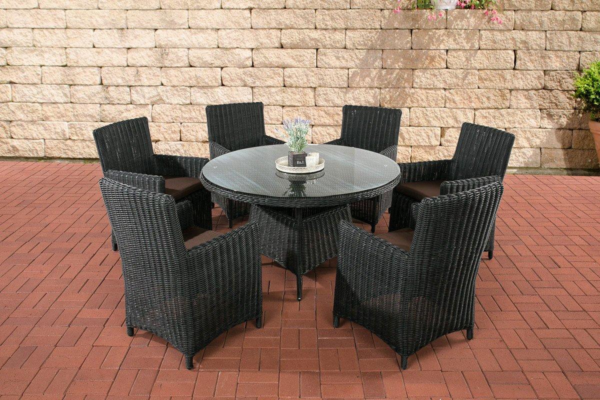CLP Polyrattan Sitzgruppe LARINO schwarz (6 Sessel + Tisch 130x130 cm) INKL. bequeme Sitzkissen, Premiumqualität: 5mm Rund-Rattan schwarz, Bezugfarbe terrabraun