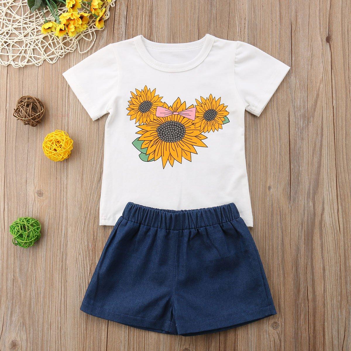 Little Girls 2-Piece Set Sunflower T-Shirt and Pants Children Clothing Summer