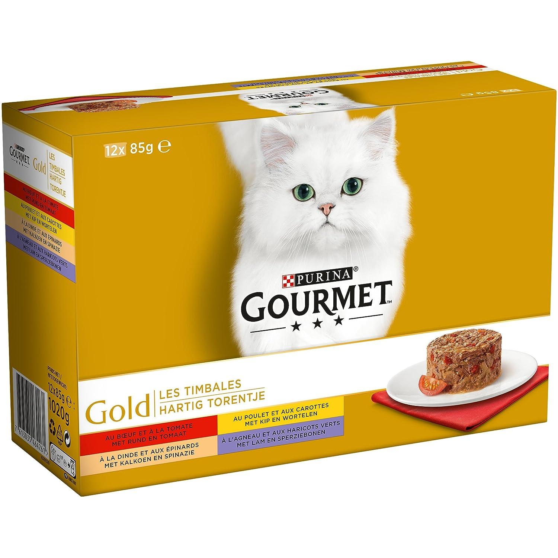 Gourmet Gold Les Timbales :Multi Variétés aux Légumes- 12x85g - Boîtes pour Chat Adulte - Lot de 8 12297578