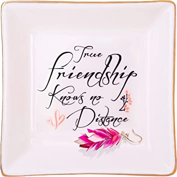 Amazon Com Friendship Gift For Womens Birthday Gifts For Friends Female Cute Ceramic Ring Dish True Friendship Knows No Distance Home Improvement