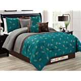 7-Pc Leaves Scroll Vine Embroidery Pleated Comforter Set Teal Bronze Brown Gray Queen