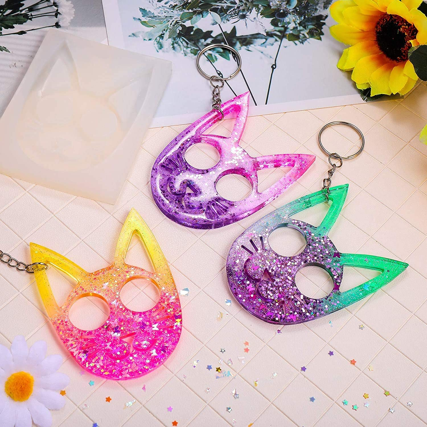 Flexible and Reusable Crystal Epoxy Resin Mold DIY Crafts Decoration Key Chain Pendant Making Tools 2PCS Self-Defense Cat Key Chain Silicone Mould