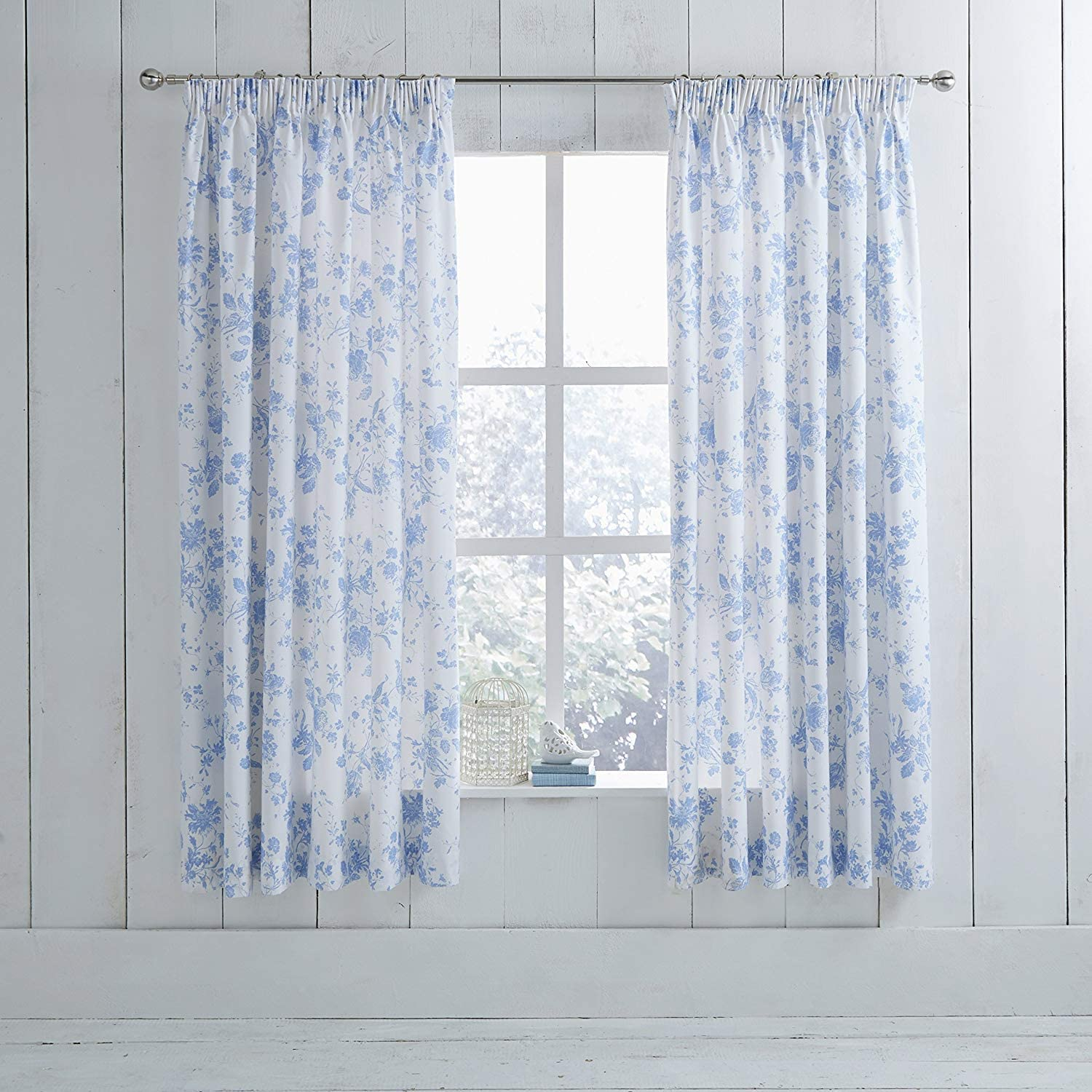 """HLS Bedding Classic Charlotte Thomas Amelie Pencil Pleat Curtains With Tiebacks, Blue - 66"""" x 54"""""""
