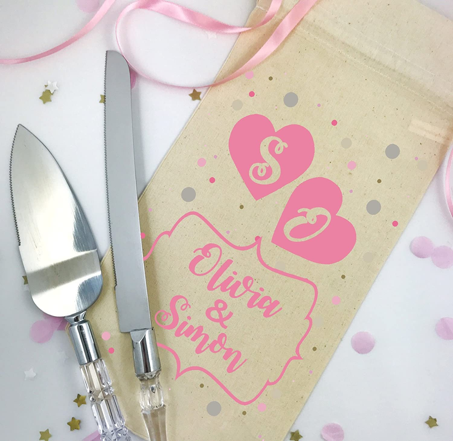 Two Hearts Mr and Mrs Personalised Wedding Cake Slicer Set and gift ...