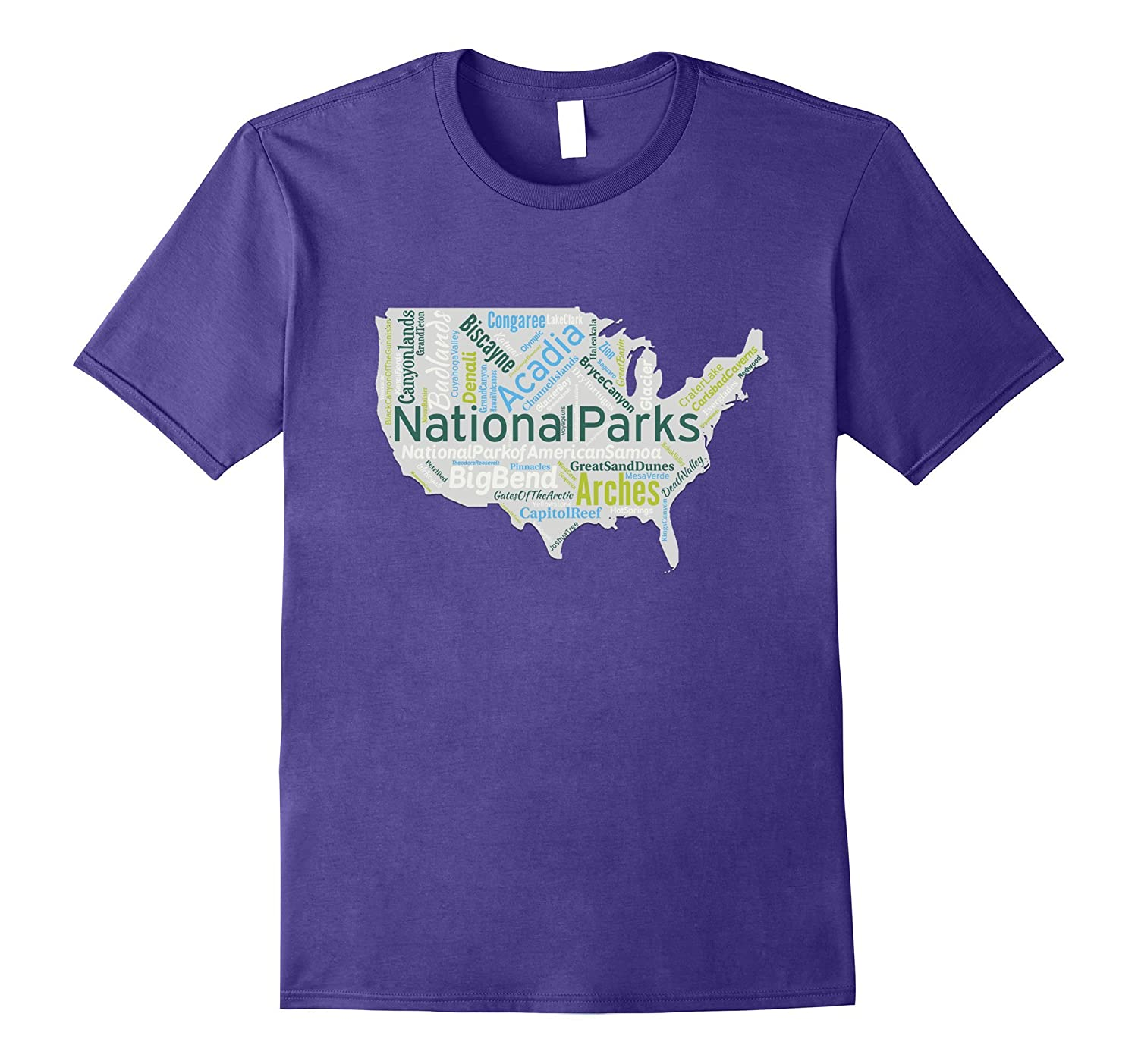 All 59 National Parks United States Map Word Cloud T-Shirt