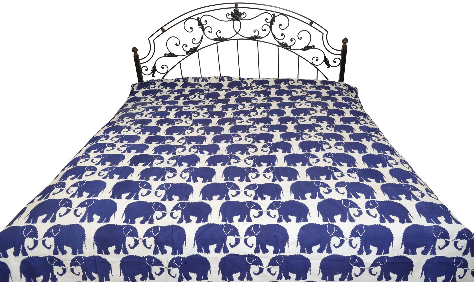 White and Blue Bedsheet from Jodhpur with Printed Elephant Pairs All-Over and Kantha Stitch - Pure C