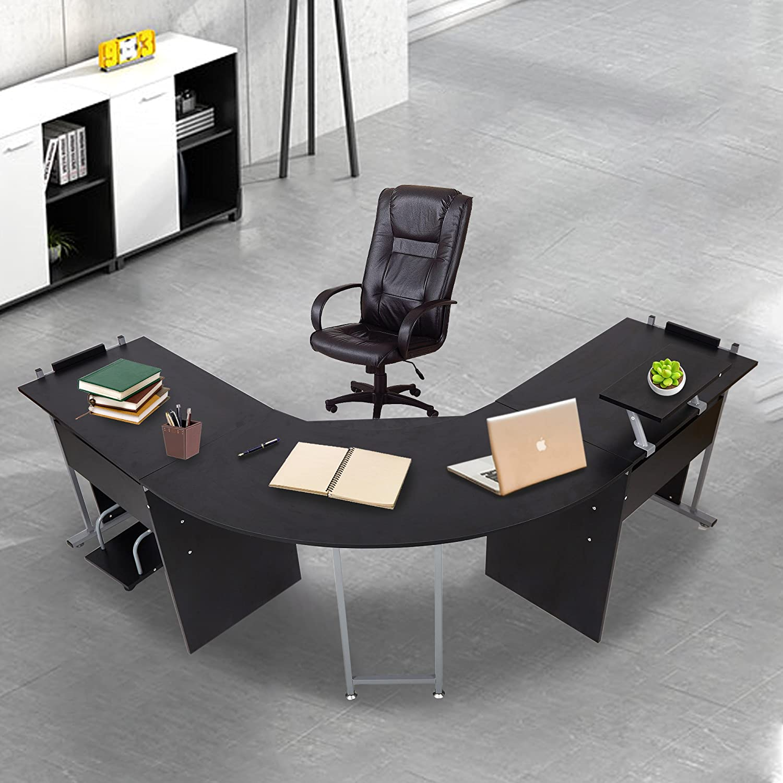 KARMAS PRODUCT L Shaped Computer Desk Modern Corner Table Wood Laptop Home Office Desks Black, 71.3×19.6×30.3in