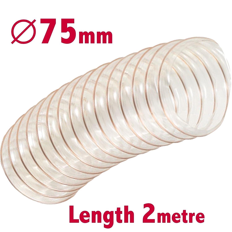 Manguera de extracción de polvo transparente, 75 mm de diámetro x 2 m de largo, tubo de ventilación para carpintería PLI