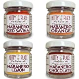 4 POLVERI HABANERO: RED SAVINA, CHOCOLATE, ORANGE, LEMON peperoncino polvere Piccante MEDIO kit 40g tot. vaso