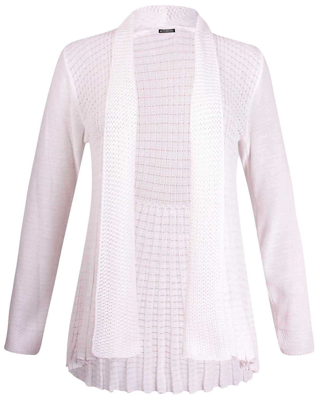 PurpleHanger Women's Long Sleeves Knit Open Cardigan Plus Size Cream 12-14
