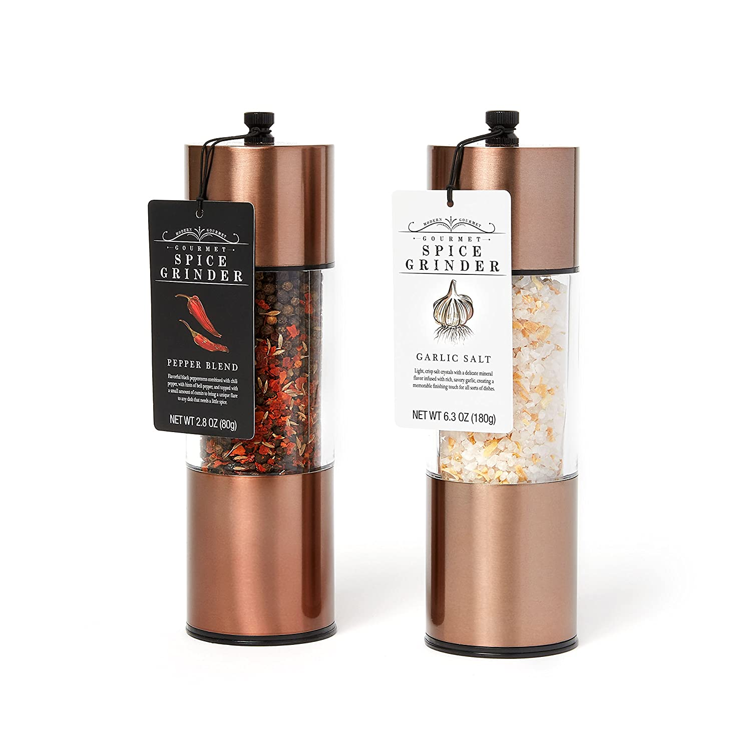 Extra Large Garlic Salt and Pepper Blend Copper Spice Grinders: A Great Copper Kitchen Accessory for the Home Chef who wants the Highest Quality and Best Ingredients Modern Gourmet Foods