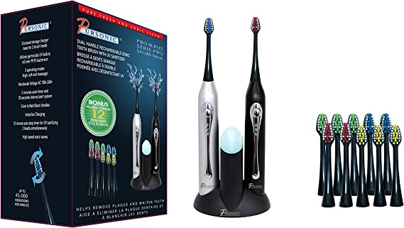 Pursonic S452BS Dual Handle Sonic Toothbrush with UV Sanitizer