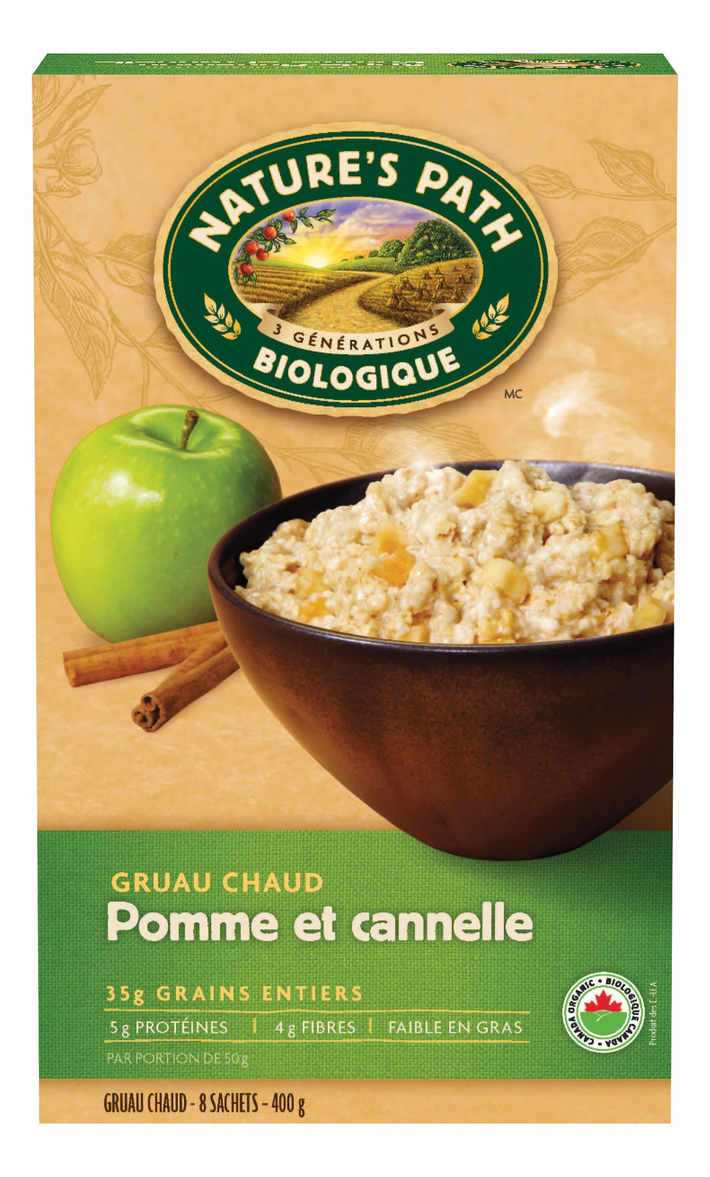 c8060111a51 Amazon.com: Nature's Path, Hot Cereal Pouch Apple Cinnamon, 8 Packets, 14  oz: