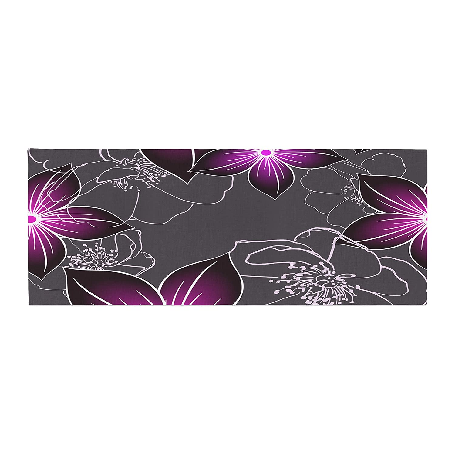 Kess InHouse Alison Coxon Charcoal And Amthyst Gray Purple Bed Runner, 34 x 86 34 x 86 AC1080ABR01