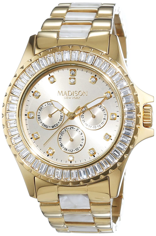 MADISON NEW YORK Damen-Armbanduhr GLAMOR Analog Quarz verschiedene Materialien L4794C1