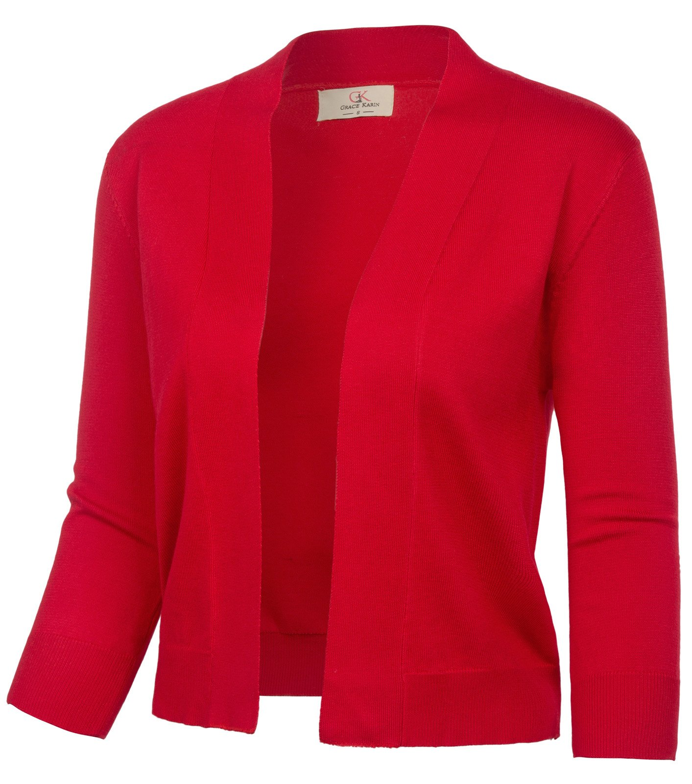 GRACE KARIN Xmas Dress Open Front Blouse Blazers for Teen Girls (L, Red CL2003)