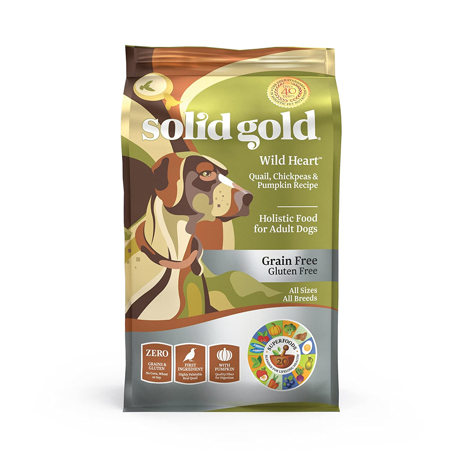 Solid Gold – Wild Heart – Natural Quail, Chickpea Pumpkin – Grain-free Gluten-free – Fiber Rich with Probiotics – Holistic Food For Adult Dogs