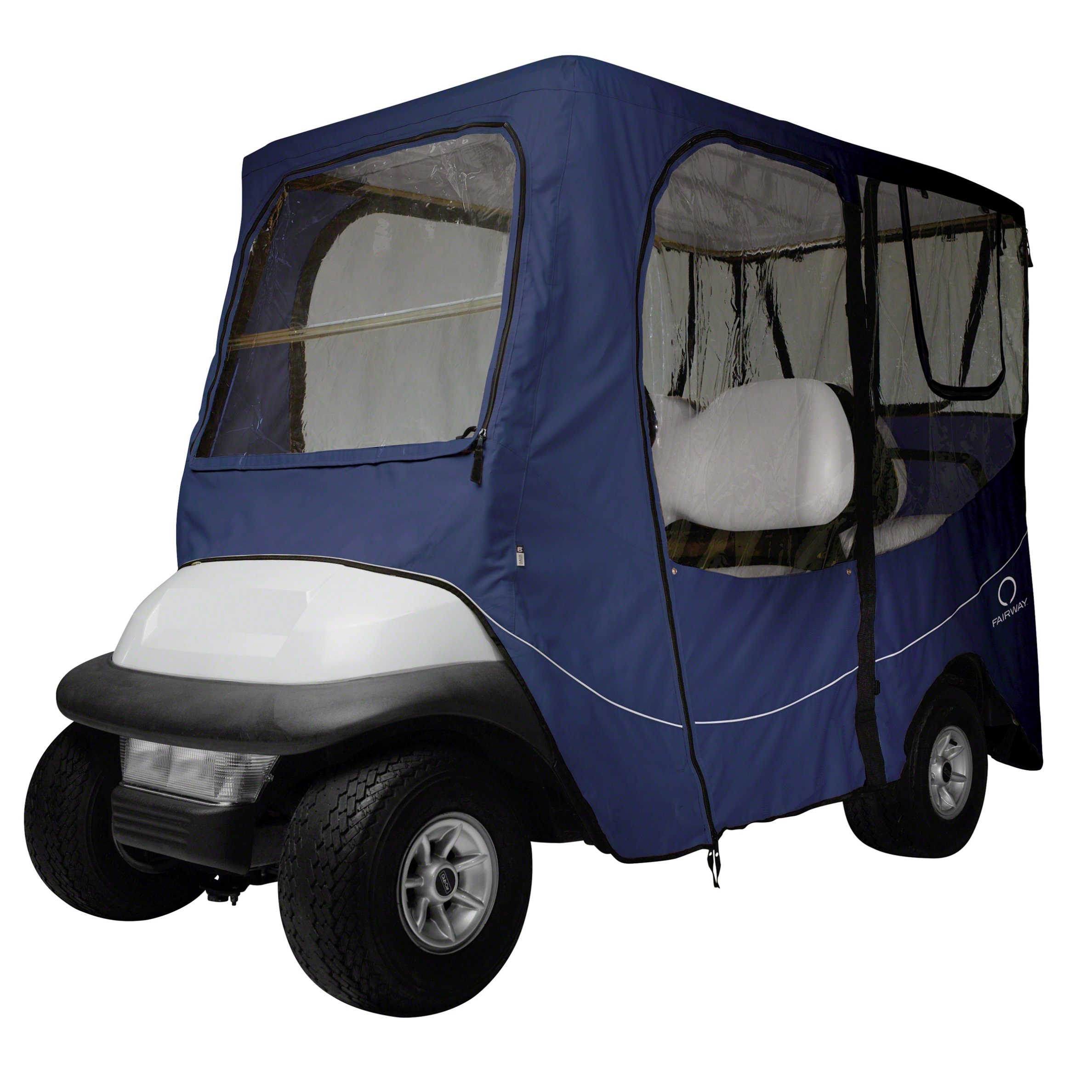 Classic Accessories Fairway Golf Cart Deluxe Enclosure, Navy, Long Roof
