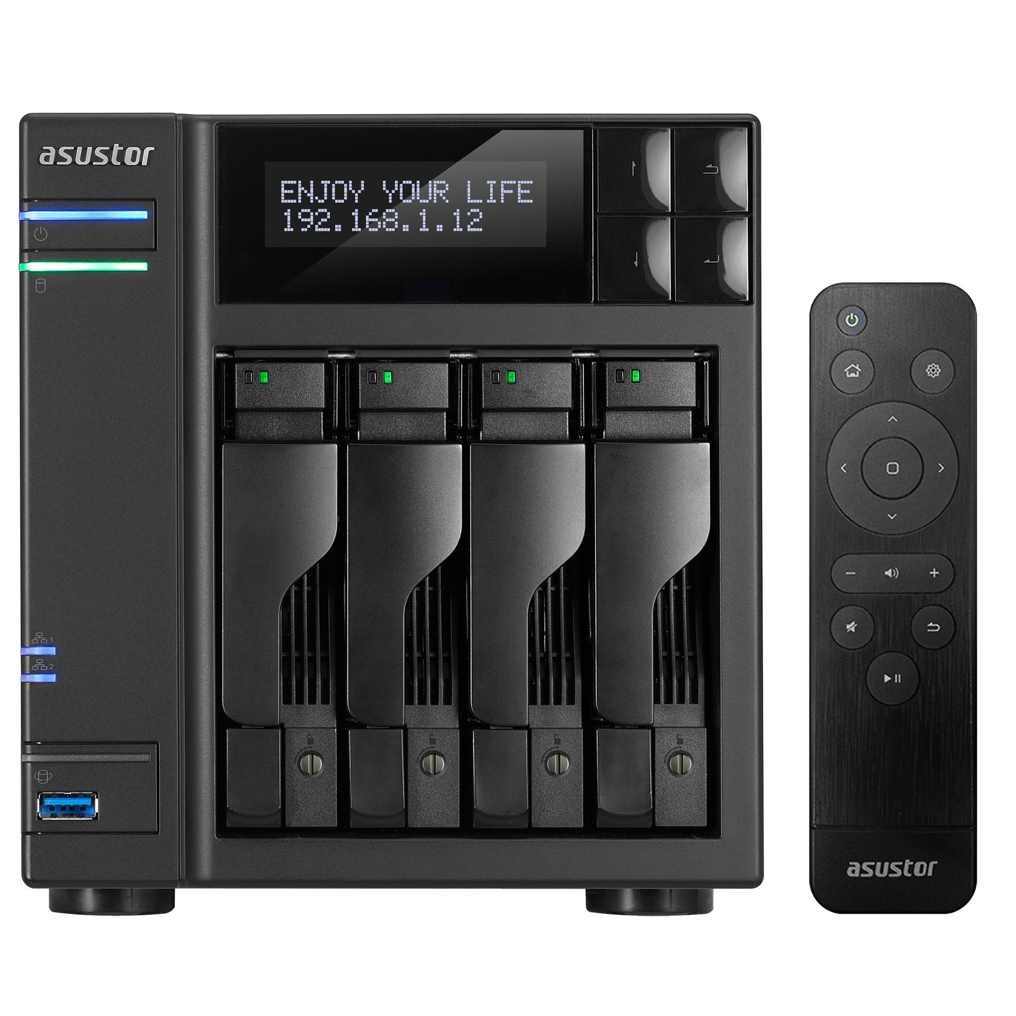 Asustor AS6404T, 4-Bay NAS (Diskless), Intel 1.5GHz Quad-Core, 8GB RAM, Includes AS-RC13 Multimedia Remote