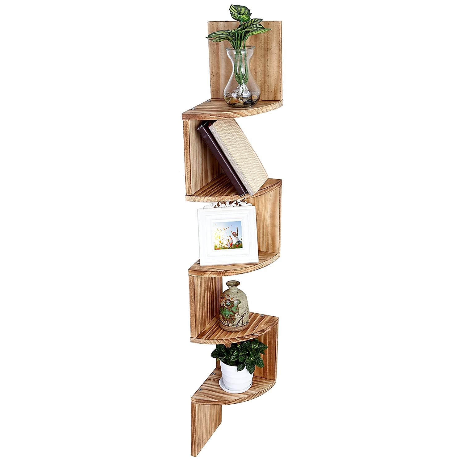 Wall Mount Wood Corner Shelves, 5 Tier Storage Display Rack, Brown MyGift TB-HOM1118BRN
