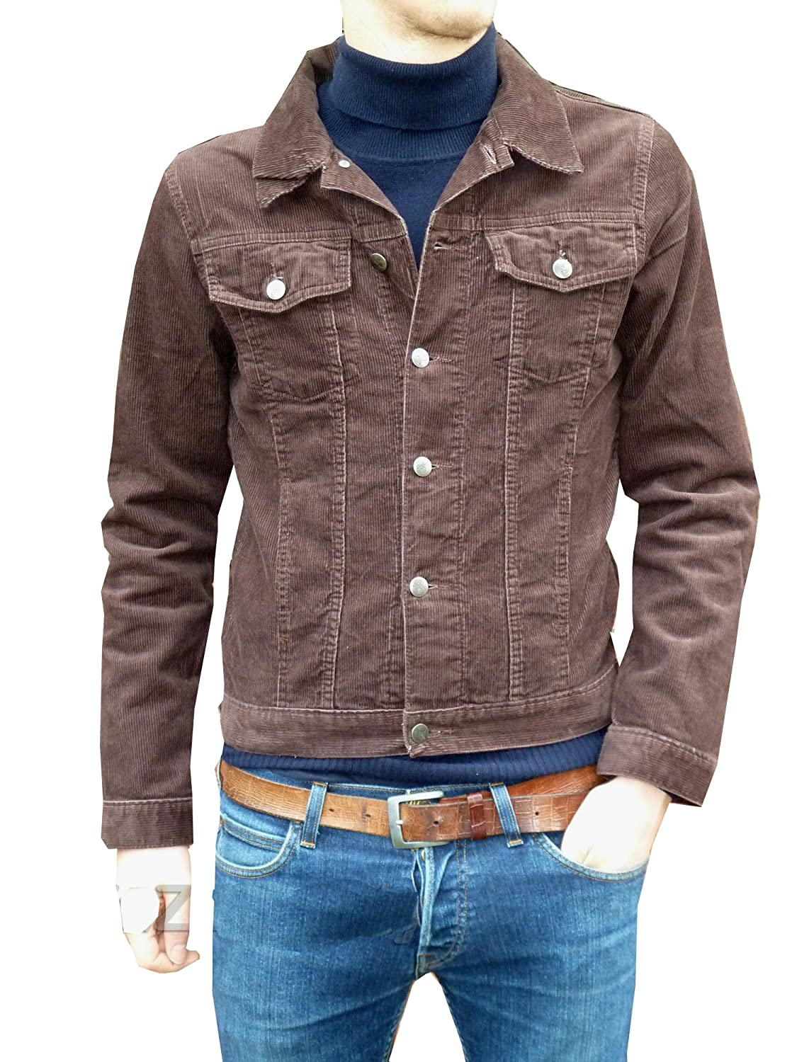 Mens Corduroy Denim Jacket Retro Vintage Brown Cord Coat Jm1269