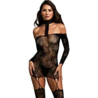 Dreamgirl Women's Lace Patterned Knit Garter Dress with Attached Stockings, Black One Size