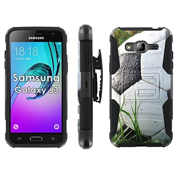 reputable site c8198 5173f Amazon.com: Samsung Galaxy J3 Phone Cover, Soccer Ball- Blitz Hybrid ...