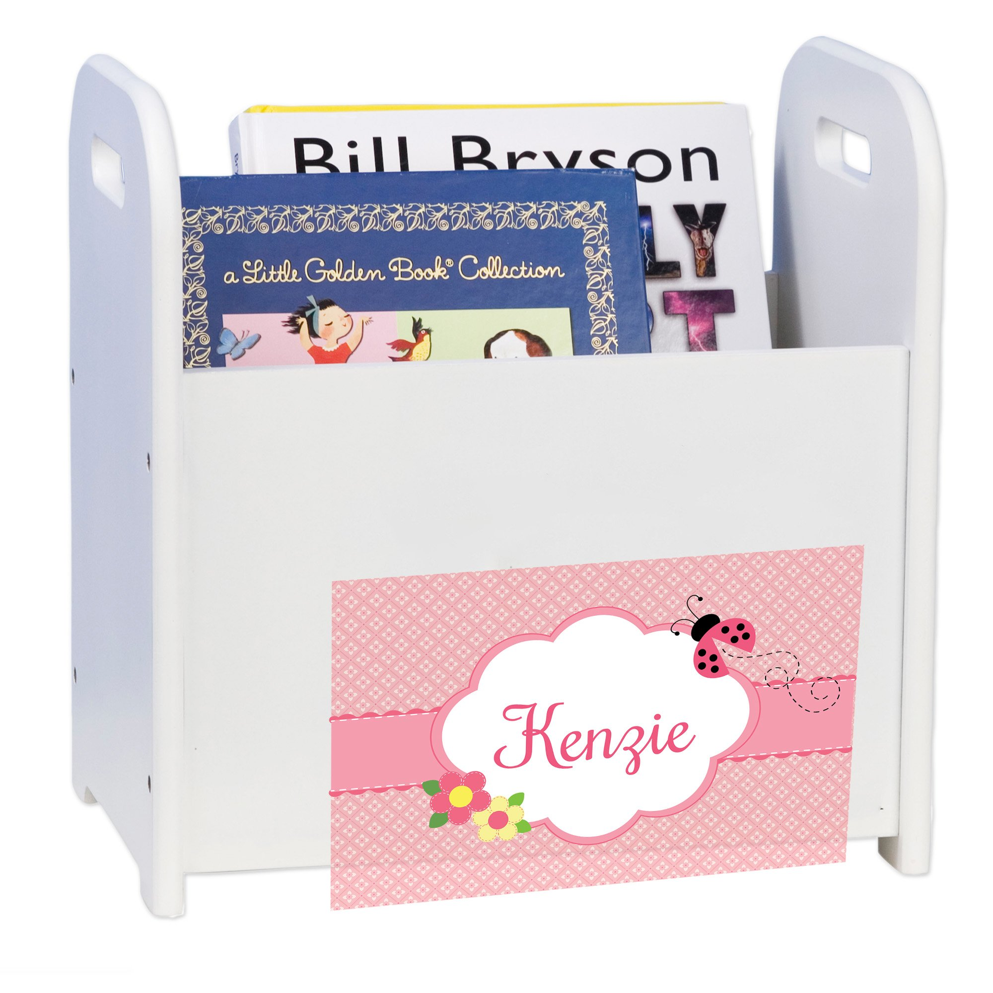 Personalized Pink Ladybug White Book Caddy and Rack