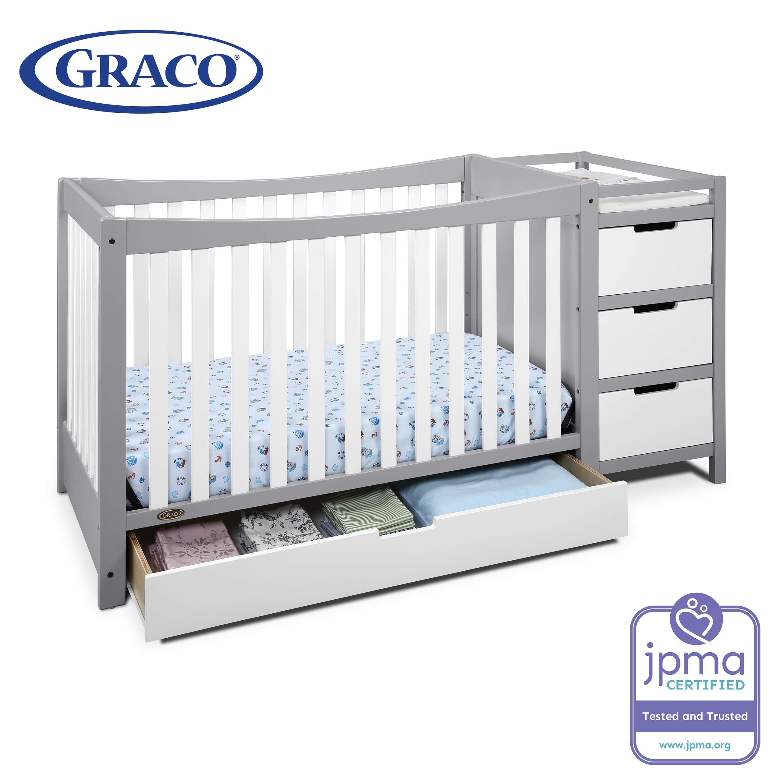 Graco Remi 4-in-1 Convertible Crib and Changer, Pebble Gray/White, Easily Converts to Toddler Bed Day Bed or Full Bed, Three Position Adjustable Height Mattress, Assembly Req (Mattress Not Included) by Storkcraft