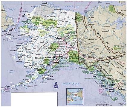 Amazon.com: Laminated 28x24 Poster: Road Map of Alaska ...
