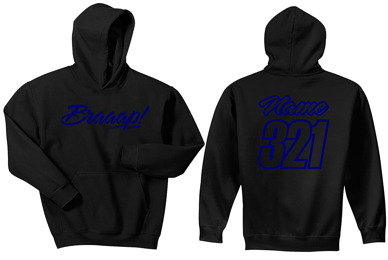 JUST RIDE Braaap Youth Hoodie Sweat Shirt Motocross Number Plate Custom Personalized