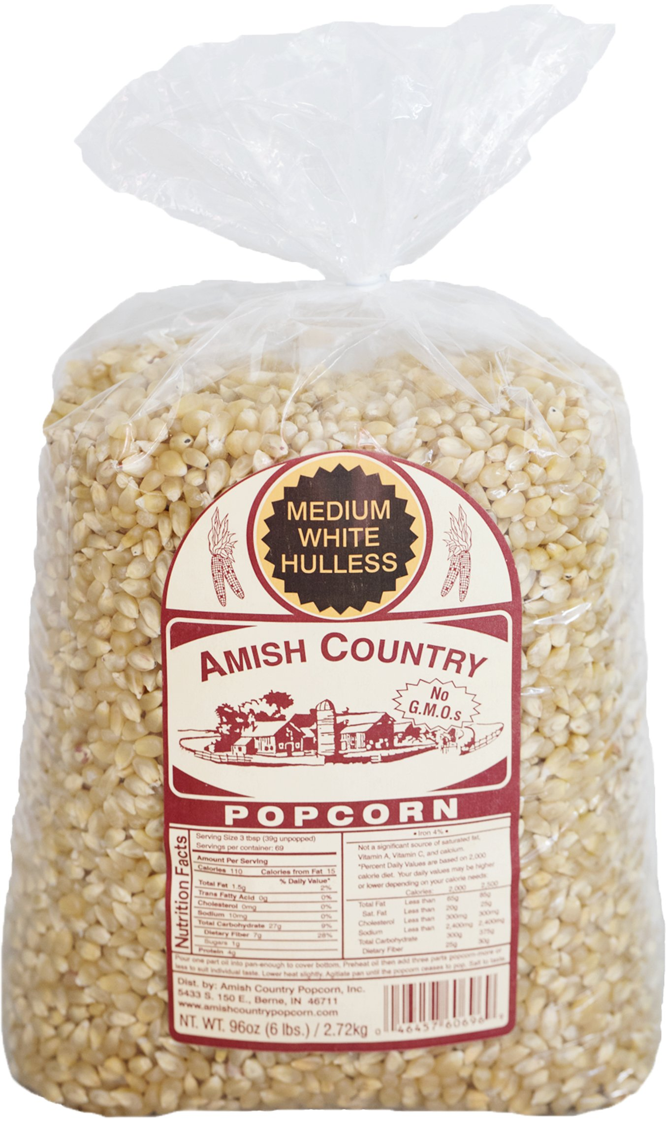 Amish Country Popcorn - Medium White (6 Pound Bag) Popcorn Kernels with Recipe Guide