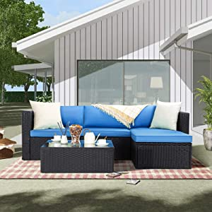 BOSSIN 5 Pieces Patio Furniture Sets All Weather Outdoor Sectional Sofa Manual Weaving Wicker Rattan Patio Conversation Set with Cushion and Glass Table (Navy Blue)