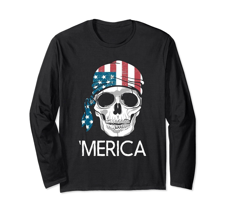 'Merica - US Flag Skull - Long Sleeve Shirt For Women Or Men-mt