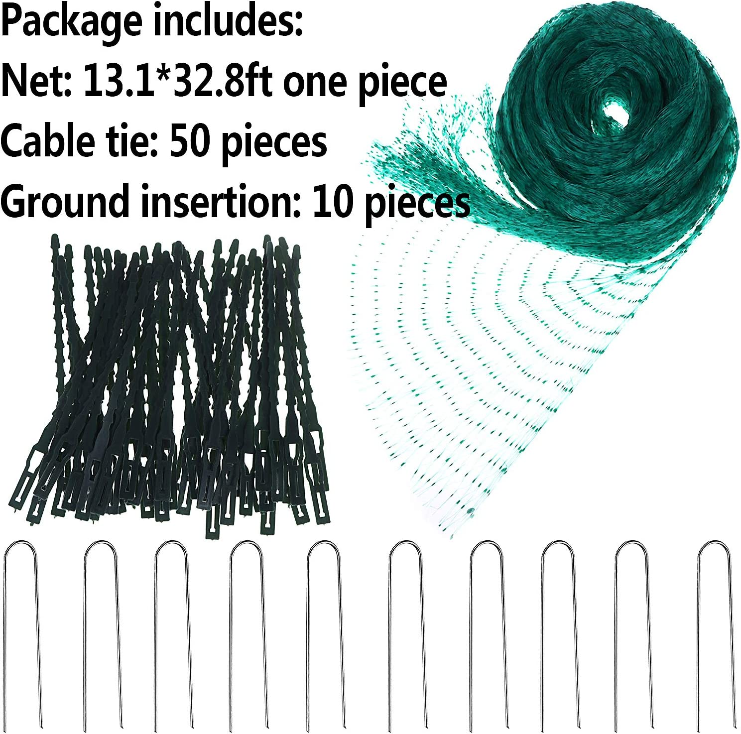 LOCOLO 13.1 x 32.8 Ft Anti Bird Protection Net with 50Pcs Cable Ties and 10Pcs U-Shaped Garden Pegs Green Bird Netting Protection for Plant