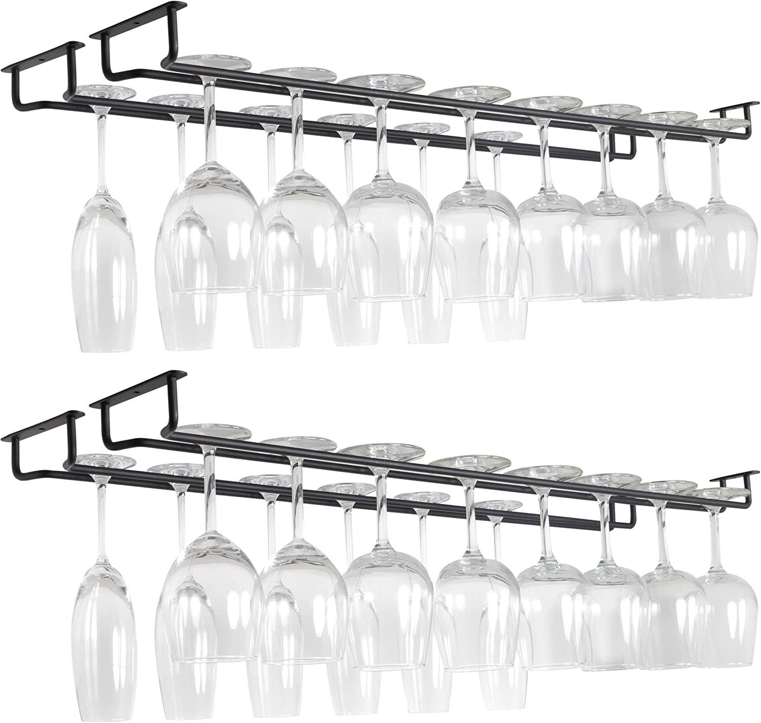 Wallniture Brix 30 Inches Wine Glass Rack Under Cabinet Organization and Storage Set of 4, Black Wine Glasses Holder
