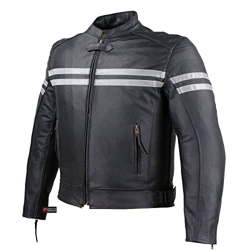 Track Motorcycle Biker Armor Men Leather Jacket