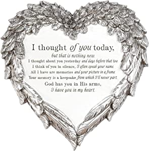 Thought of You Ornate Heart Wings 8 inch Metal Outdoor Decorative Garden Stone