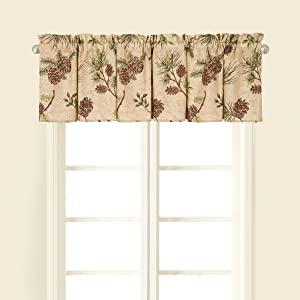 C&F Home Woodland Retreat Window Treatment Curtain Pinecone Decor Cabin Rustic Lodge Brown Green Cotton for Living Room Kitchen Valance Tan