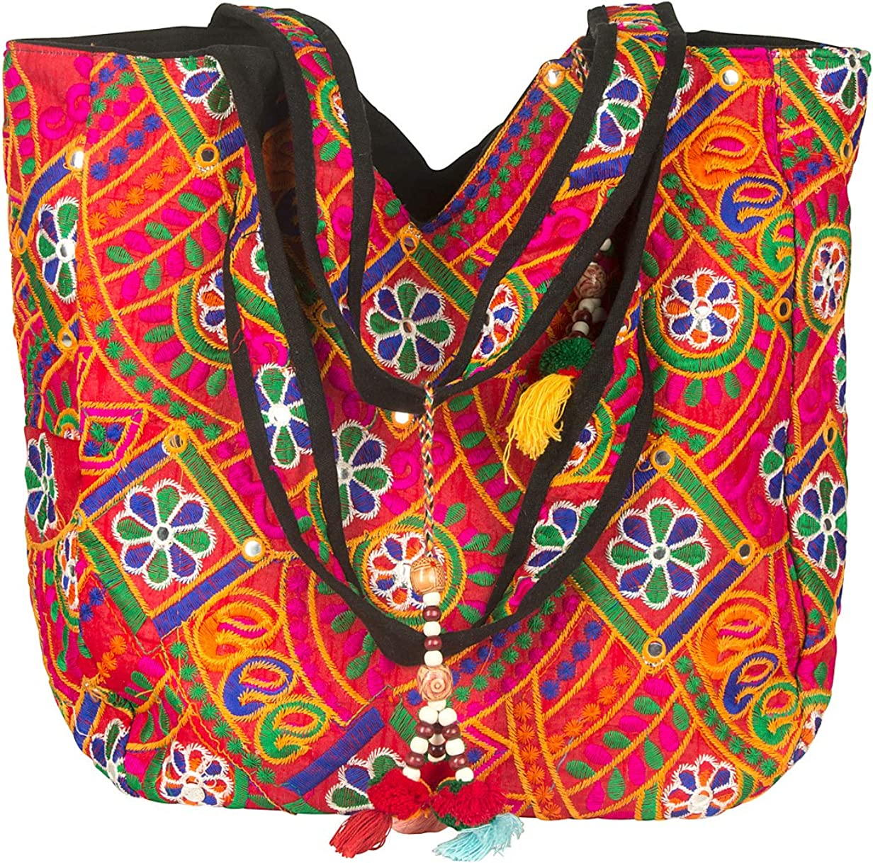 Colorful Floral Boho Large Shoulder Bag Tote Handbag Casual Spacious Market School Beach Books Travel
