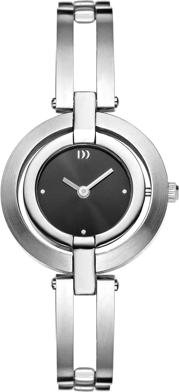 ブラックダイヤルアナログディスプレイとシルバーステンレスバングルDZ120099を備えたデンマークデザインの女性用クォーツ時計