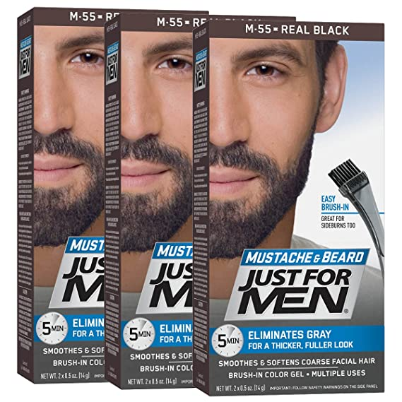 Just For Men Mustache and Beard Brush-In Color Gel, Real Black (Pack of 3): Amazon.es: Belleza