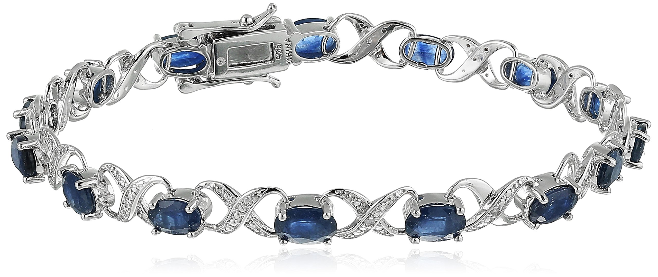 Sterling Silver 8 cttw Blue Sapphire and Diamond Accented XO XO Tennis Bracelet, 7.25''