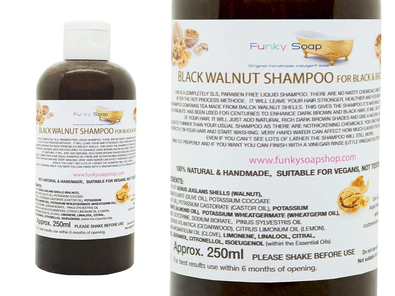 1 FLASCHE FLÜSSIG Schwarznuss Shampoo 100% Natur SLS Frei