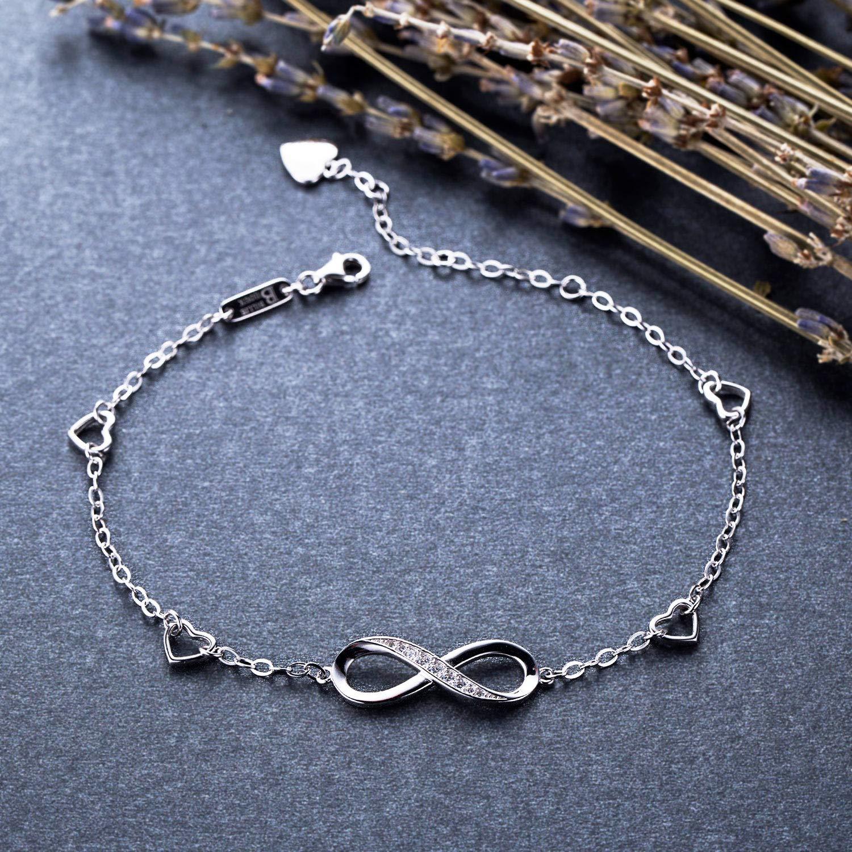 Billie Bijoux Womens 925 Sterling Silver Infinity Endless Love Symbol Charm Adjustable Anklet Bracelet, Large Bracelet, Gift for Mother's Day (A- Silver) by Billie Bijoux (Image #3)