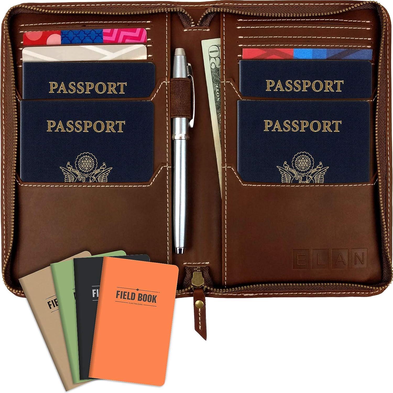 Ghot Passport Holder Cover Wallet RFID Blocking Leather Card Case Travel Document Organizer
