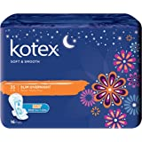 Kotex Soft and Smooth Slim Overnight 35cm Pads, 16 Pads